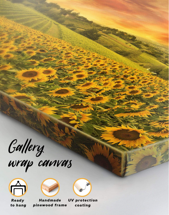 Beautiful Sunflower Field Canvas Wall Art - Image 4