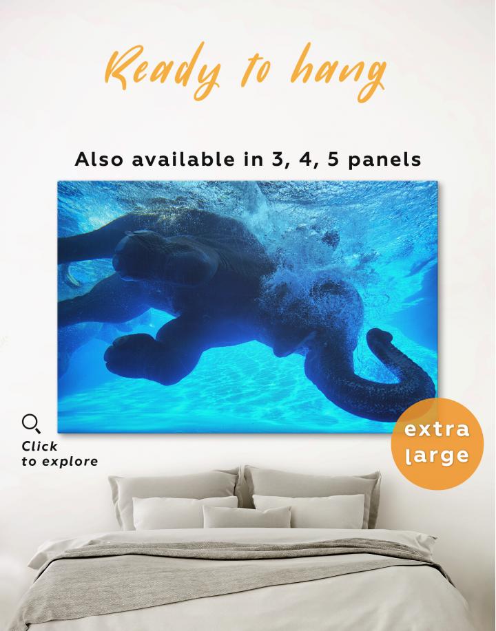 Swimming Elephant Underwater Canvas Wall Art