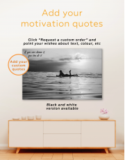 Swimming Surfer Girl Silhouette Canvas Wall Art - Image 1