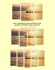Swimming Surfer Girl Silhouette Canvas Wall Art - Image 2