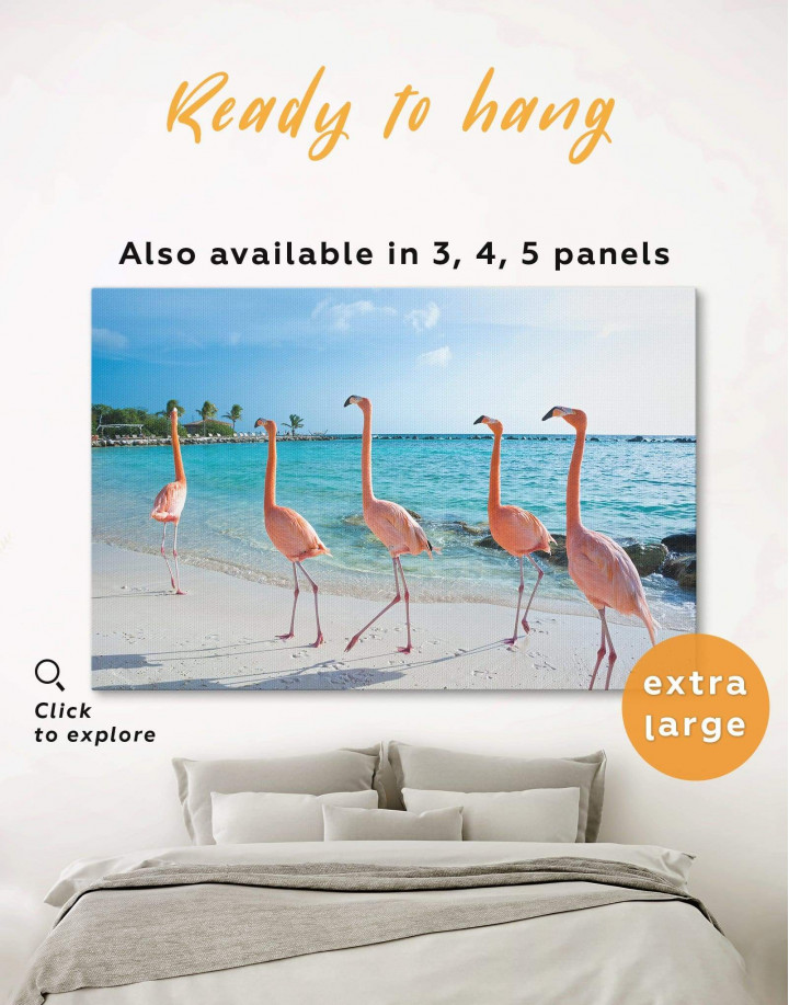 Coast and Flamingo Canvas Wall Art - Image 0