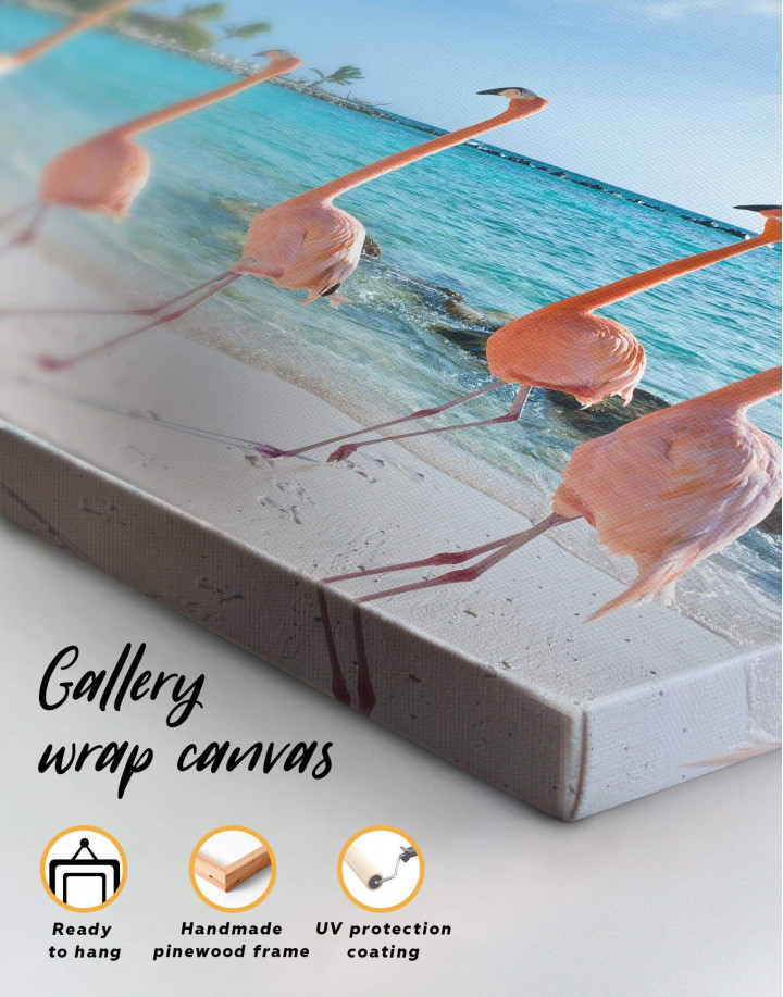 Coast and Flamingo Canvas Wall Art - Image 1