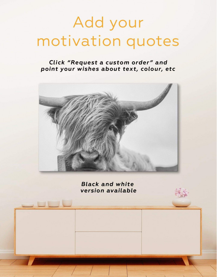 Highland Cow Canvas Wall Art - Image 1