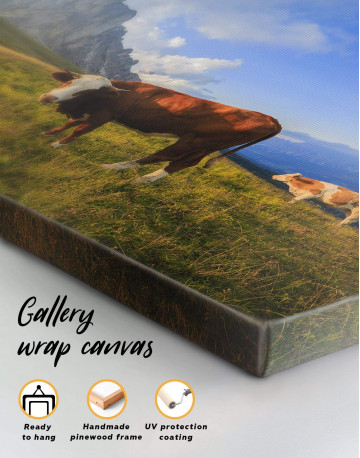 Cows on Pasture Canvas Wall Art - image 1