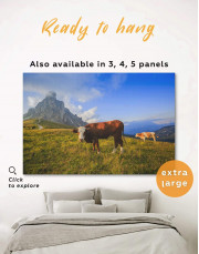 Cows on Pasture Canvas Wall Art - Image 0