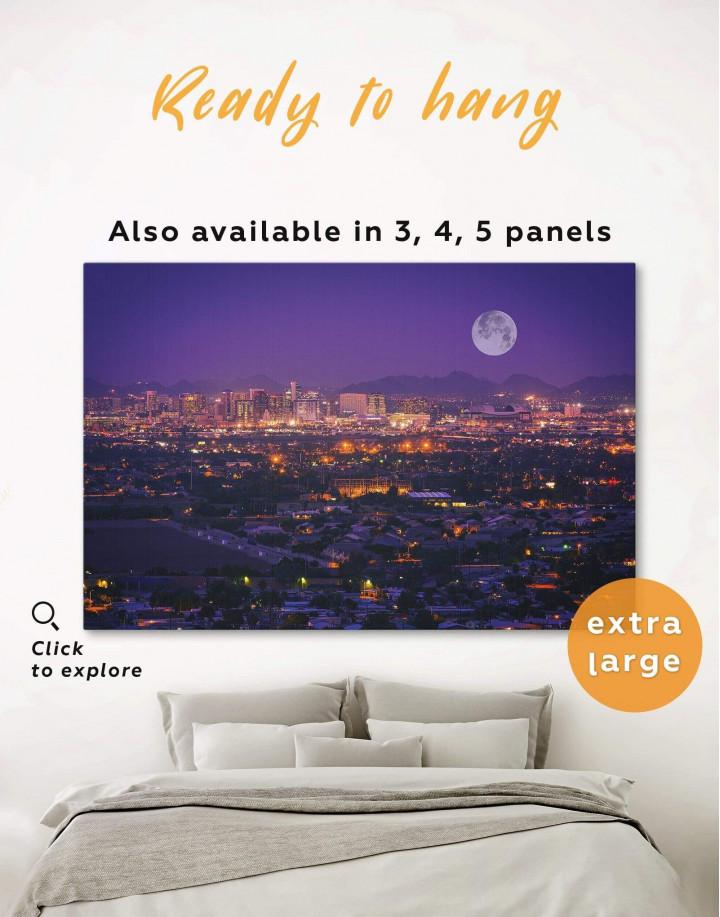Night Phoenix Cityscape Canvas Wall Art - Image 0