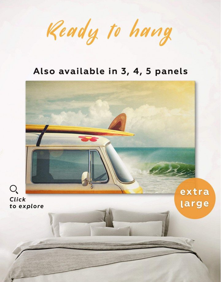 Van by the Seaside Canvas Wall Art - Image 0