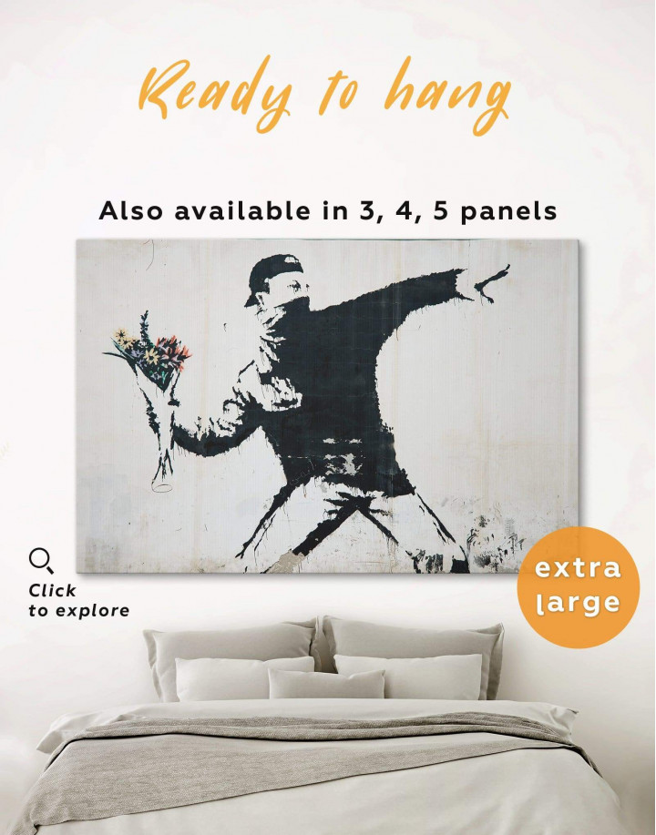 Rage Flower Thrower Banksy Canvas Wall Art - Image 0