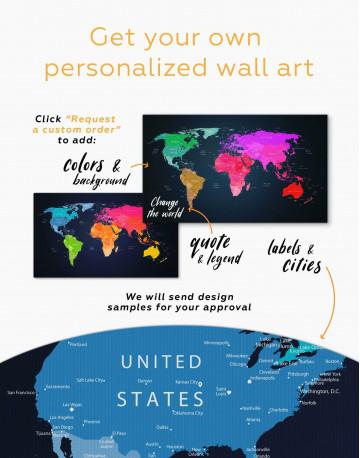 Multicolor Push Pin World Map Canvas Wall Art - image 2
