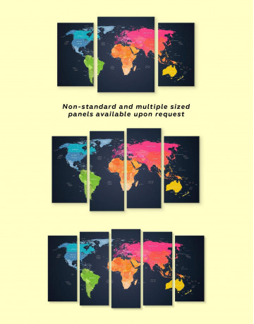 Multicolor Push Pin World Map Canvas Wall Art - image 4