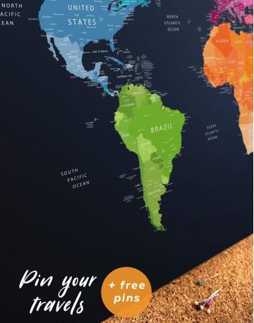 Multicolor Push Pin World Map Canvas Wall Art - image 1
