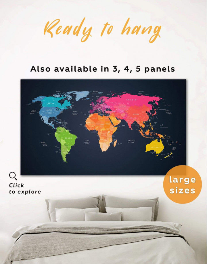 Multicolor Push Pin World Map Canvas Wall Art - Image 0