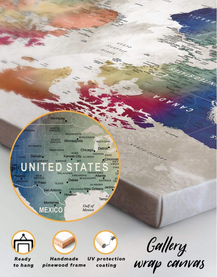 Watercolor Push Pin World Map Canvas Wall Art - Image 5