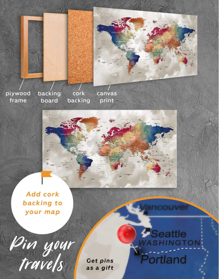 Watercolor Push Pin World Map Canvas Wall Art - Image 4