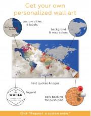 Watercolor Push Pin World Map Canvas Wall Art - Image 3