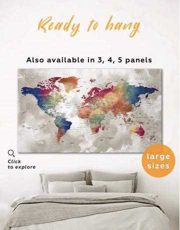 Watercolor Push Pin World Map Canvas Wall Art