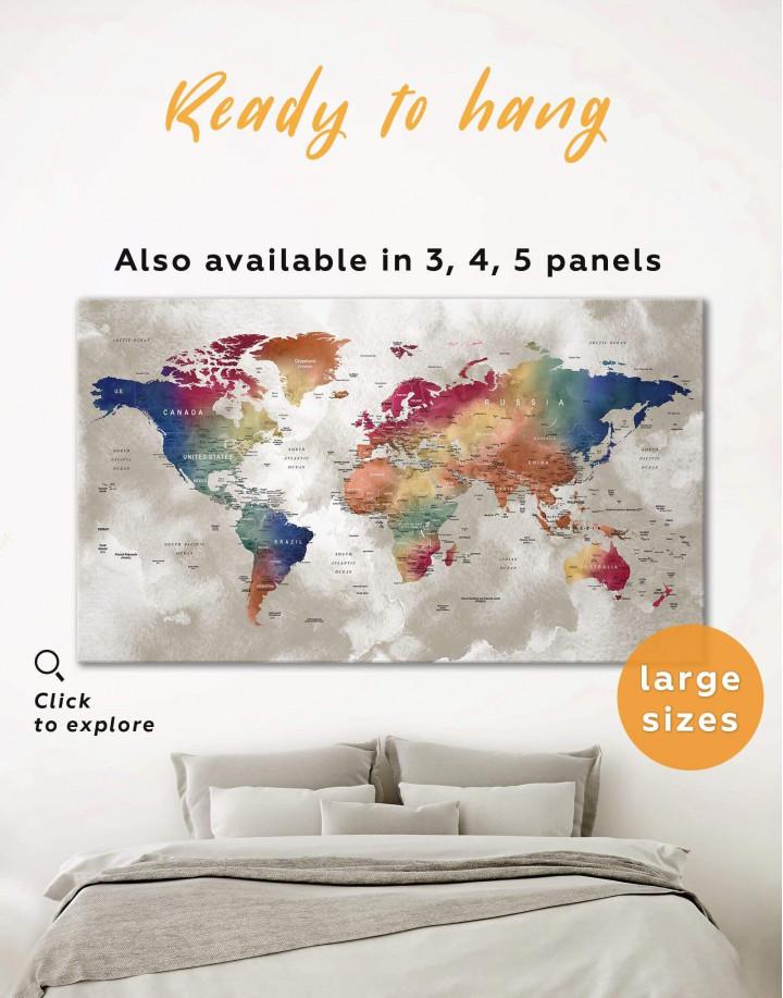 Watercolor Push Pin World Map Canvas Wall Art - Image 0