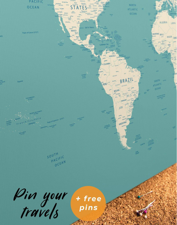 Modern Turquoise Push Pin Travel Map Canvas Wall Art - Image 4
