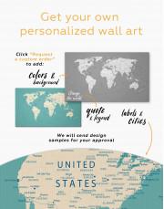 Modern Turquoise Push Pin Travel Map Canvas Wall Art - Image 3