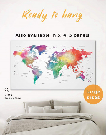 Bright World Map with Push Pins Canvas Wall Art