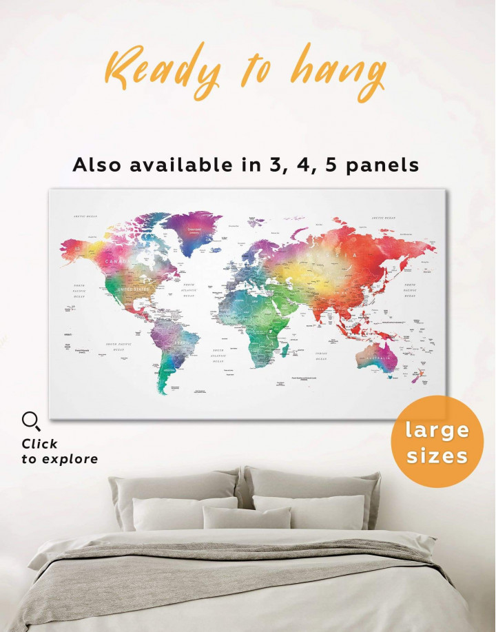 Bright World Map with Push Pins Canvas Wall Art - Image 0