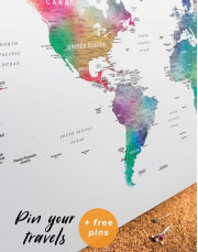 Bright World Map with Push Pins Canvas Wall Art - Image 1