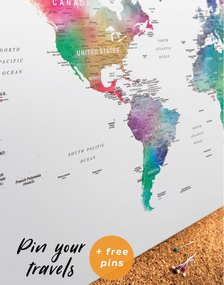 Bright World Map with Push Pins Canvas Wall Art - Image 1