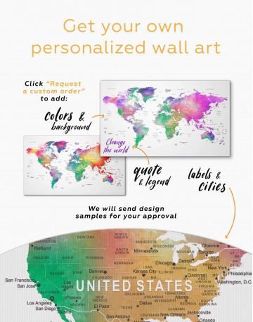 Bright World Map with Push Pins Canvas Wall Art - image 3