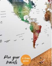 Multicolored Travel Push Pin Canvas Wall Art - Image 4