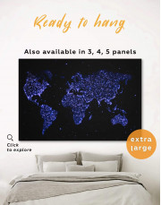 Blue Night World Map Canvas Wall Art - Image 0