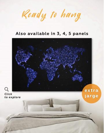 Blue Night World Map Canvas Wall Art