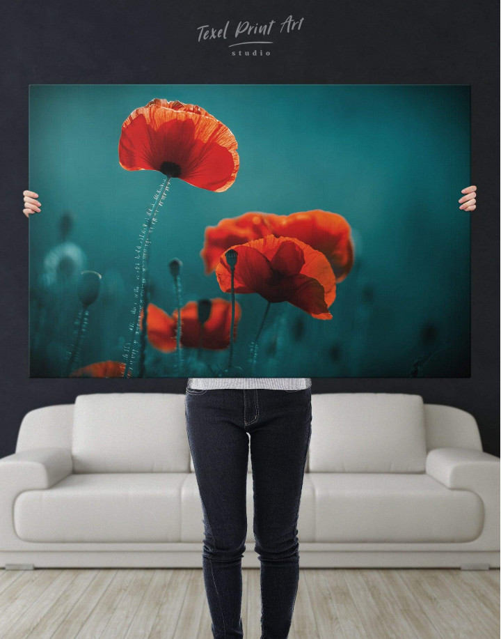 Red Poppy Canvas Wall Art - Image 5