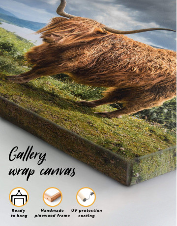 Highland Cow on Pasture Canvas Wall Art - image 4
