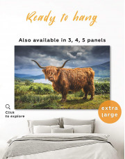 Highland Cow on Pasture Canvas Wall Art - Image 6