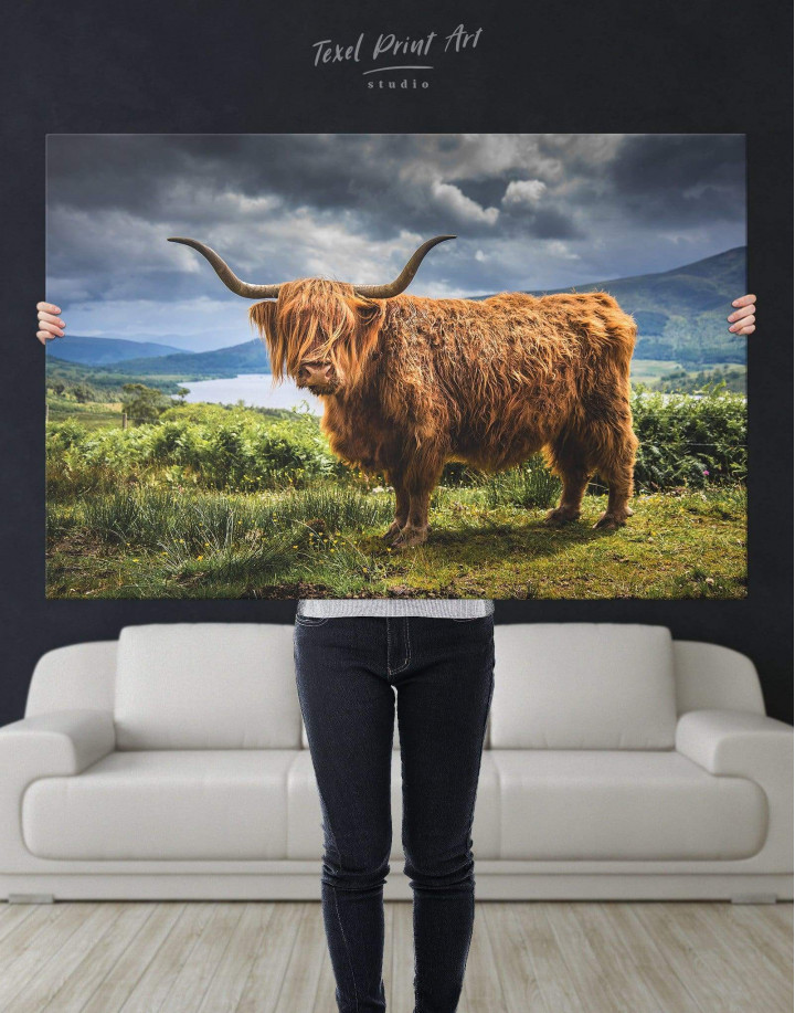 Highland Cow on Pasture Canvas Wall Art - Image 5
