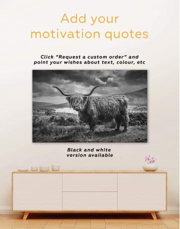 Highland Cow on Pasture Canvas Wall Art - image 1