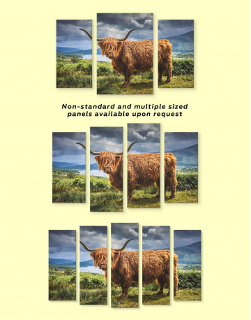 Highland Cow on Pasture Canvas Wall Art - image 2