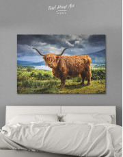 Highland Cow on Pasture Canvas Wall Art - Image 0