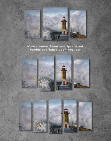 Lighthouse Storm Canvas Wall Art - image 2