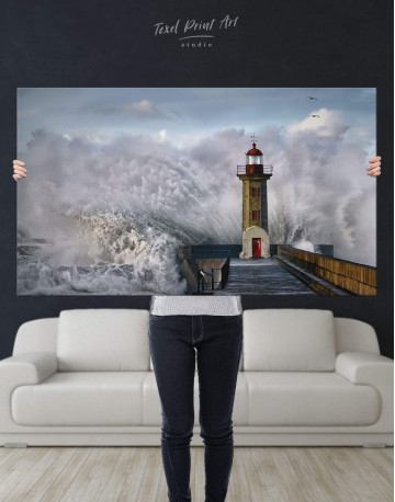 Lighthouse Storm Canvas Wall Art - image 5