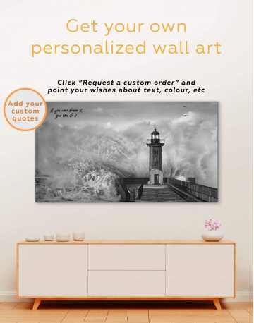 Lighthouse Storm Canvas Wall Art - image 1