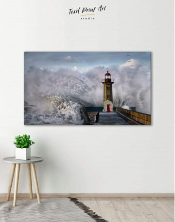 Lighthouse Storm Canvas Wall Art - image 6