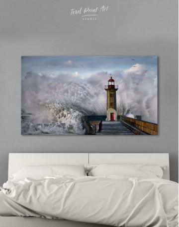 Lighthouse Storm Canvas Wall Art