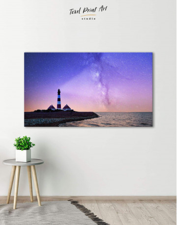 Lighthouse and Space Canvas Wall Art