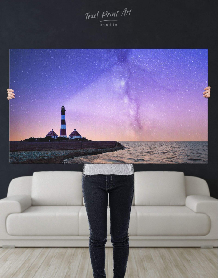 Lighthouse and Space Canvas Wall Art - Image 4