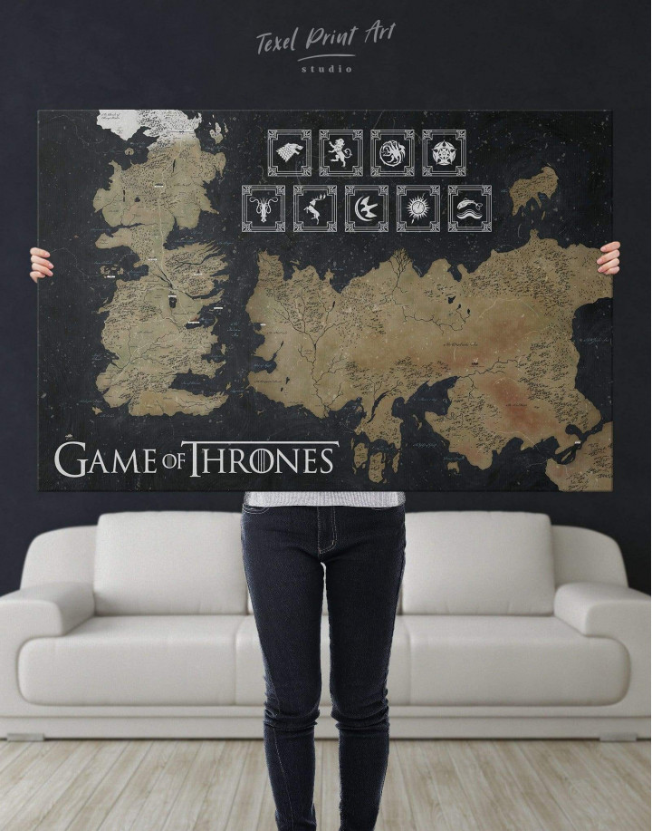 Game of Thrones Map with Houses Sigil Canvas Wall Art - Image 6