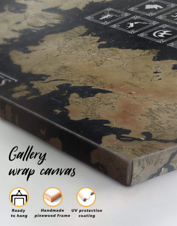 Game of Thrones Map with Houses Sigil Canvas Wall Art - image 4