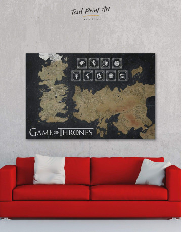 Game of Thrones Map with Houses Sigil Canvas Wall Art