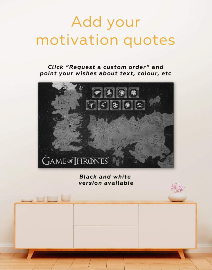 Game of Thrones Map with Houses Sigil Canvas Wall Art - Image 1