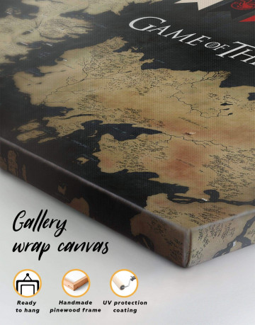 Games of Thrones Map with House Flags Canvas Wall Art - image 3